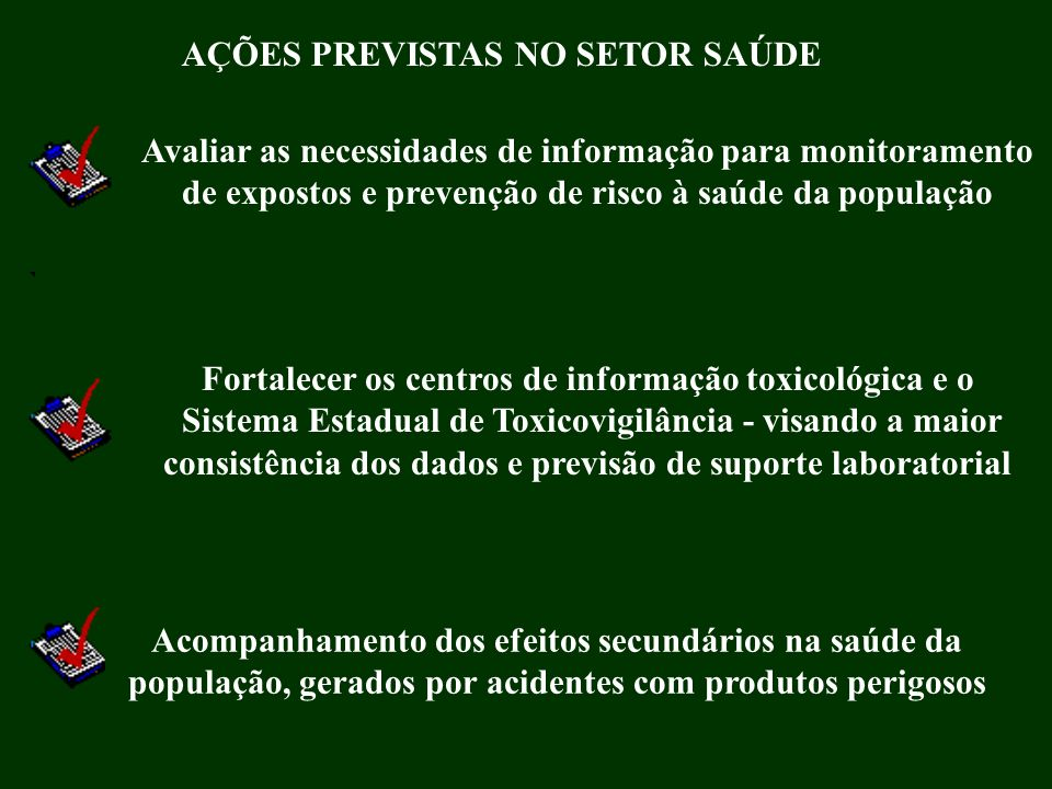 AÇÕES PREVISTAS NO SETOR SAÚDE