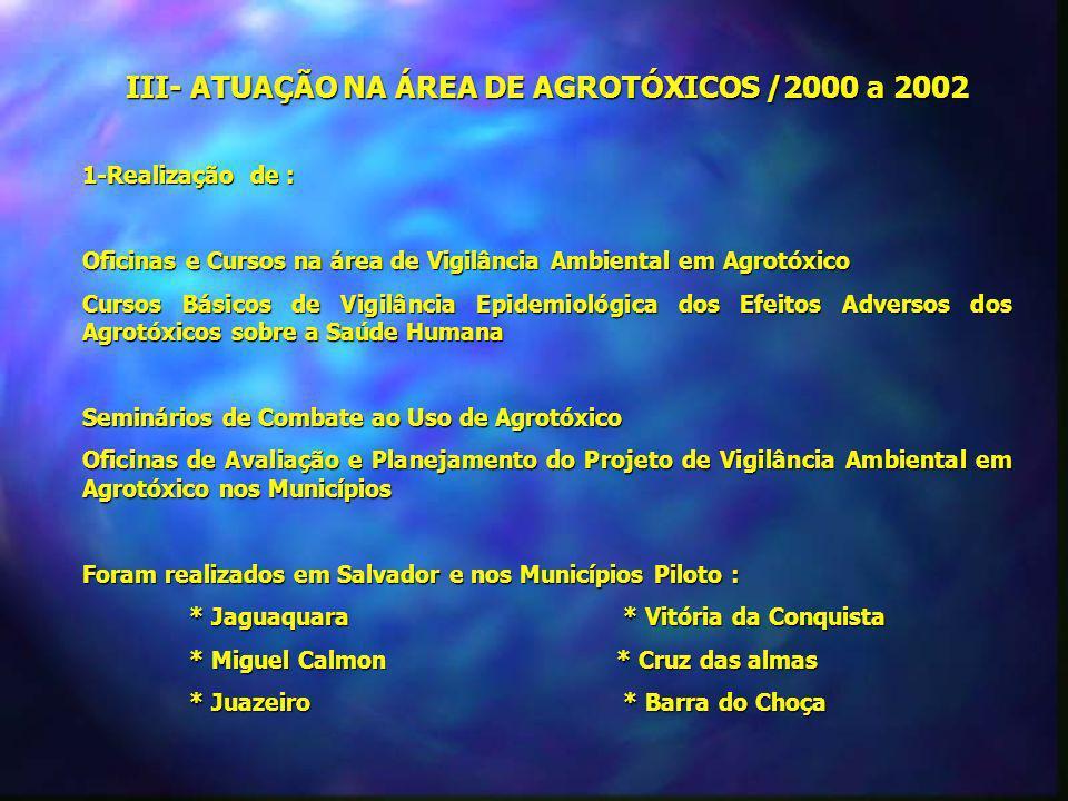 III- ATUAÇÃO NA ÁREA DE AGROTÓXICOS /2000 a 2002