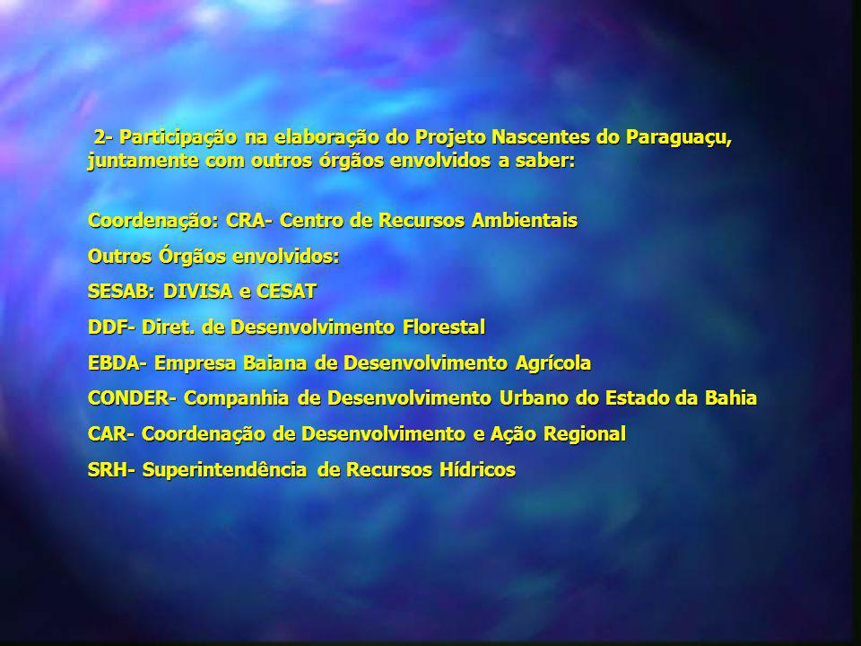 2- Participação na elaboração do Projeto Nascentes do Paraguaçu, juntamente com outros órgãos envolvidos a saber: