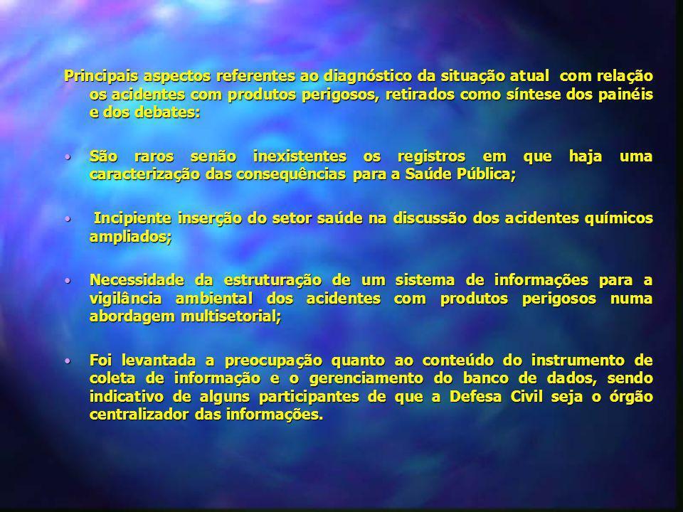 Principais aspectos referentes ao diagnóstico da situação atual com relação os acidentes com produtos perigosos, retirados como síntese dos painéis e dos debates: