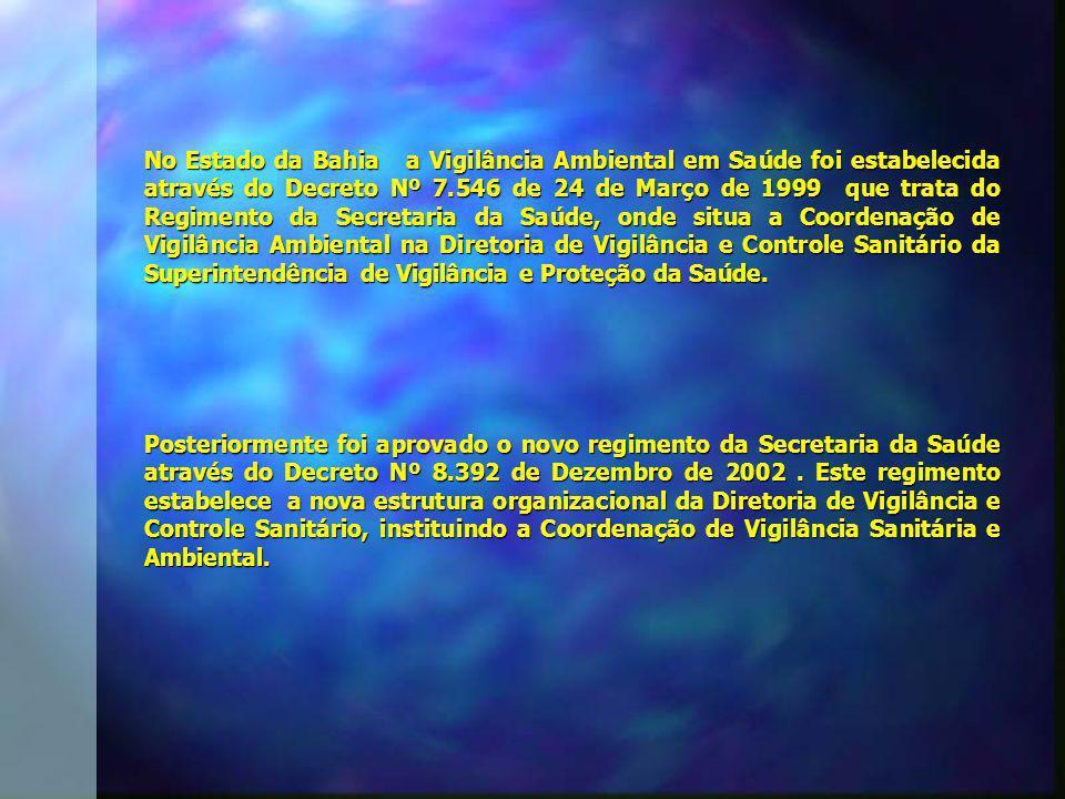 No Estado da Bahia a Vigilância Ambiental em Saúde foi estabelecida através do Decreto Nº 7.546 de 24 de Março de 1999 que trata do Regimento da Secretaria da Saúde, onde situa a Coordenação de Vigilância Ambiental na Diretoria de Vigilância e Controle Sanitário da Superintendência de Vigilância e Proteção da Saúde.