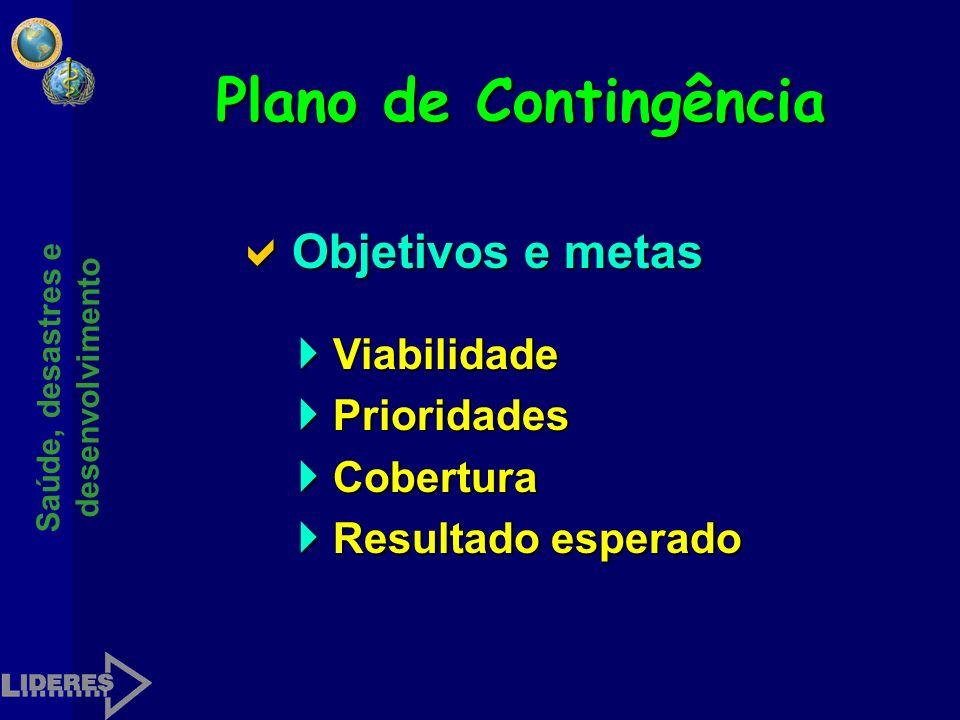 Plano de Contingência Objetivos e metas Viabilidade Prioridades