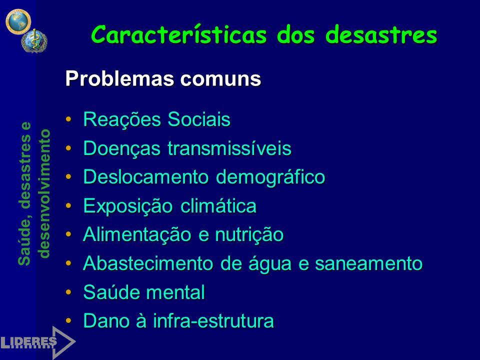 Características dos desastres