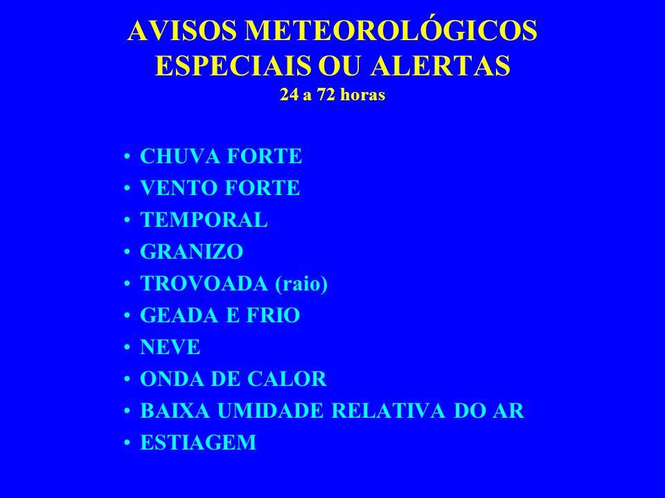 AVISOS METEOROLÓGICOS ESPECIAIS OU ALERTAS 24 a 72 horas