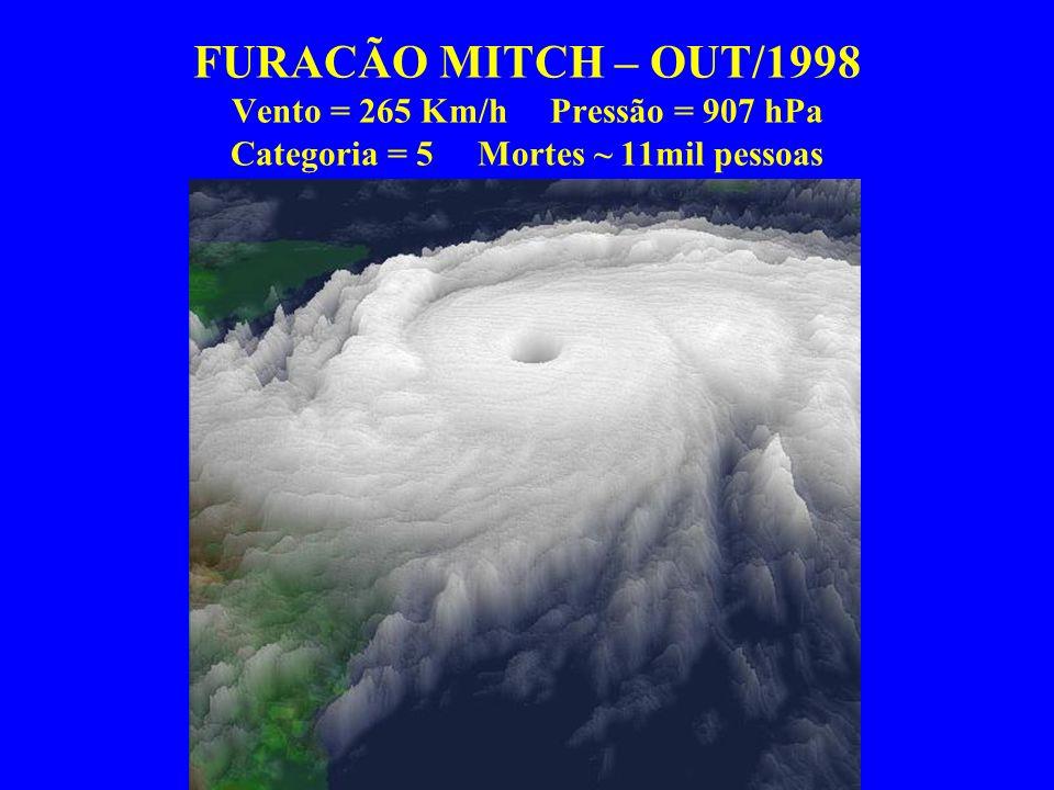 FURACÃO MITCH – OUT/1998 Vento = 265 Km/h Pressão = 907 hPa Categoria = 5 Mortes ~ 11mil pessoas