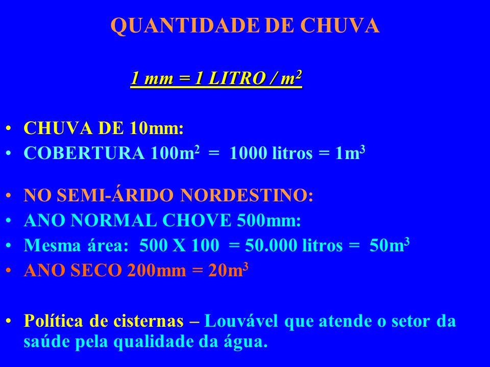 QUANTIDADE DE CHUVA 1 mm = 1 LITRO / m2 CHUVA DE 10mm: