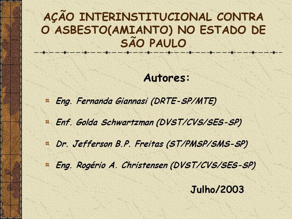 AÇÃO INTERINSTITUCIONAL CONTRA O ASBESTO(AMIANTO) NO ESTADO DE SÃO PAULO