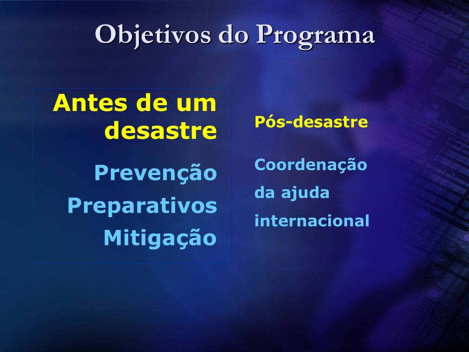 Objetivos do Programa Antes de um desastre Prevenção Preparativos
