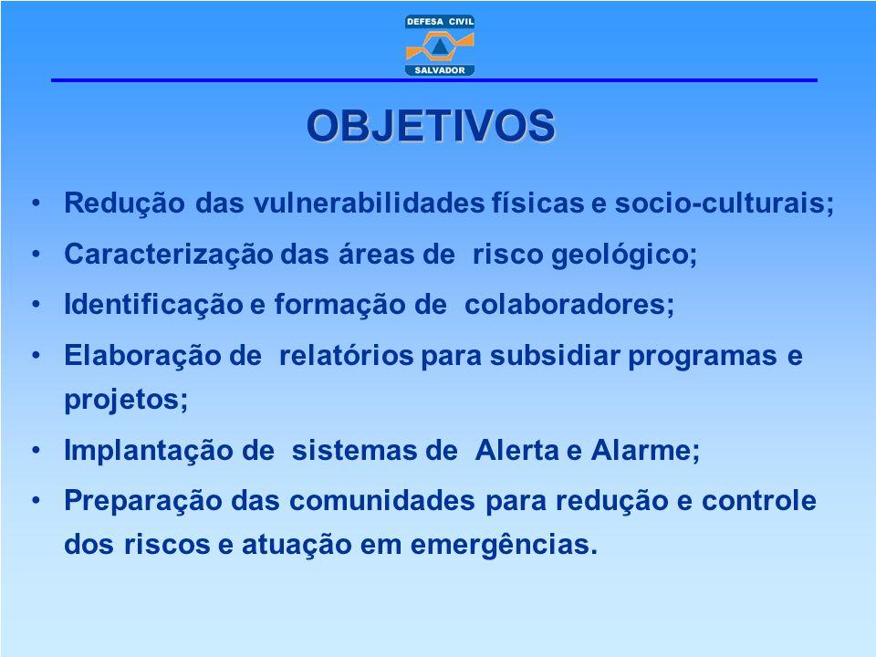 OBJETIVOS Redução das vulnerabilidades físicas e socio-culturais;