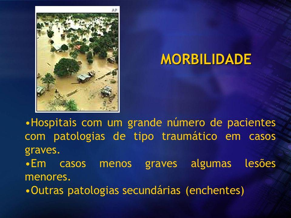 MORBILIDADEHospitais com um grande número de pacientes com patologias de tipo traumático em casos graves.