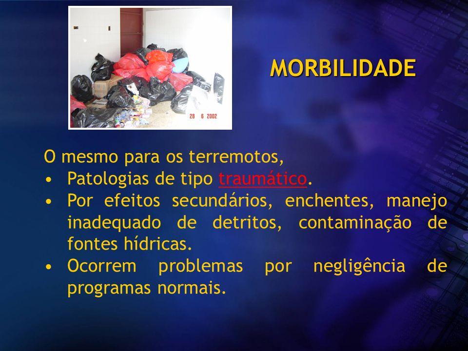 MORBILIDADE O mesmo para os terremotos, Patologias de tipo traumático.