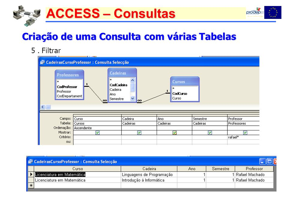 Criação de uma Consulta com várias Tabelas