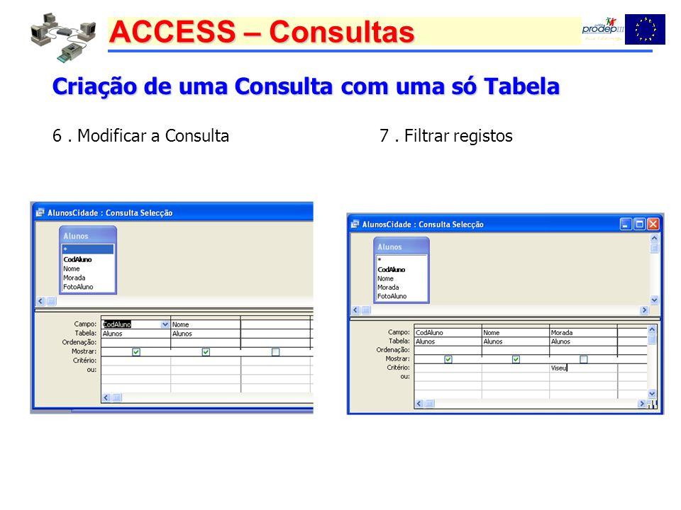 Criação de uma Consulta com uma só Tabela