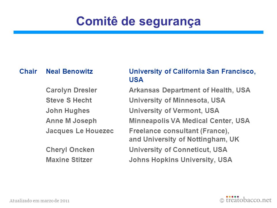 Comitê de segurança Chair Neal Benowitz University of California San Francisco, USA. Carolyn Dresler Arkansas Department of Health, USA.