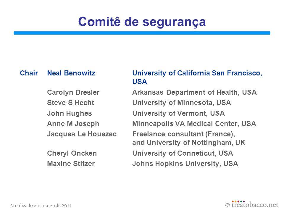 Comitê de segurançaChair Neal Benowitz University of California San Francisco, USA. Carolyn Dresler Arkansas Department of Health, USA.
