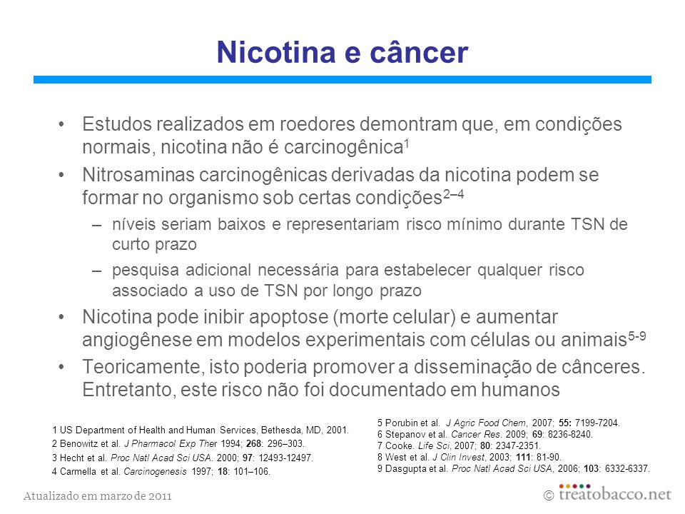 Nicotina e câncer Estudos realizados em roedores demontram que, em condições normais, nicotina não é carcinogênica1.