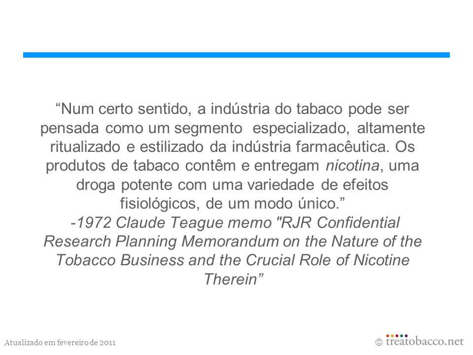 Num certo sentido, a indústria do tabaco pode ser pensada como um segmento especializado, altamente ritualizado e estilizado da indústria farmacêutica.