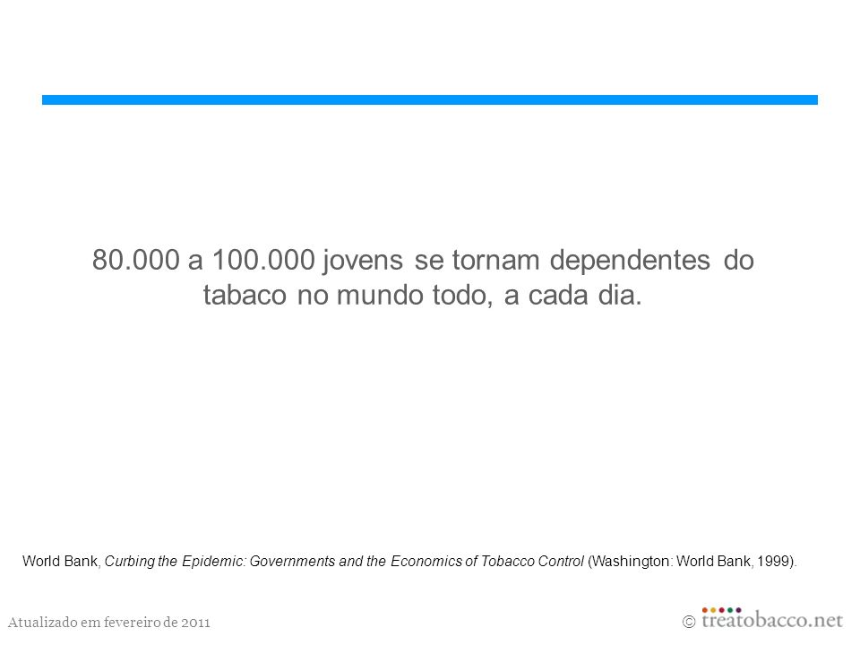 80.000 a 100.000 jovens se tornam dependentes do tabaco no mundo todo, a cada dia.