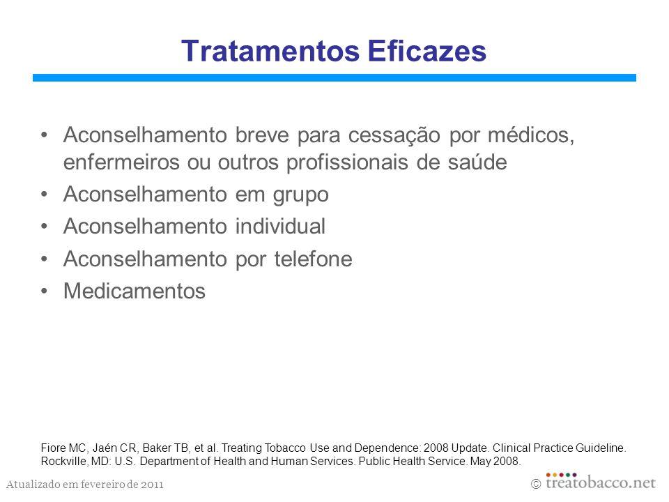 Tratamentos Eficazes Aconselhamento breve para cessação por médicos, enfermeiros ou outros profissionais de saúde.