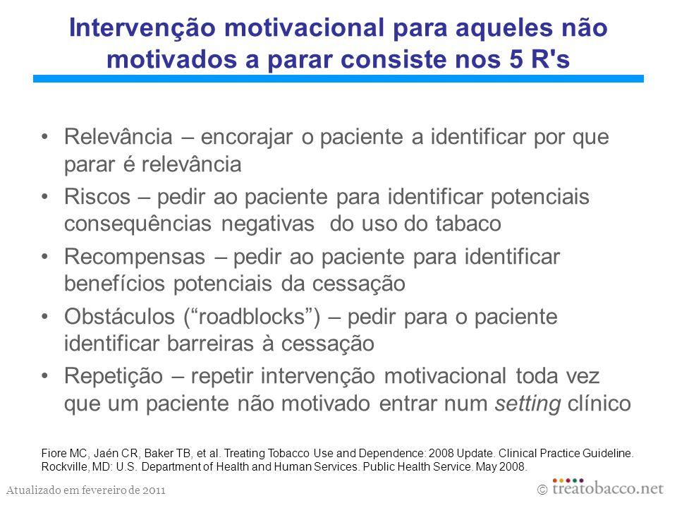 Intervenção motivacional para aqueles não motivados a parar consiste nos 5 R s