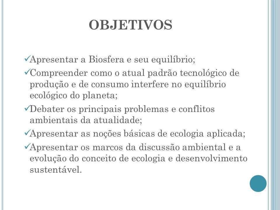 OBJETIVOS Apresentar a Biosfera e seu equilíbrio;