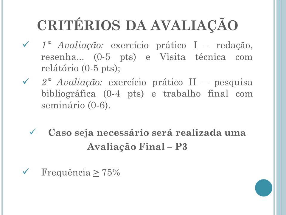 CRITÉRIOS DA AVALIAÇÃO