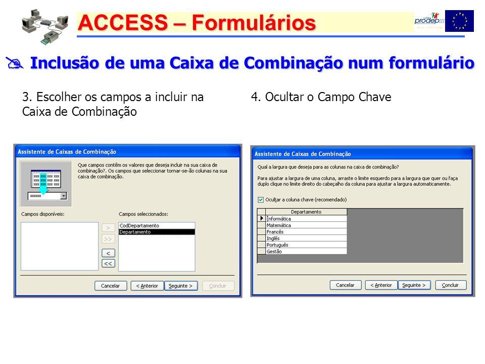  Inclusão de uma Caixa de Combinação num formulário