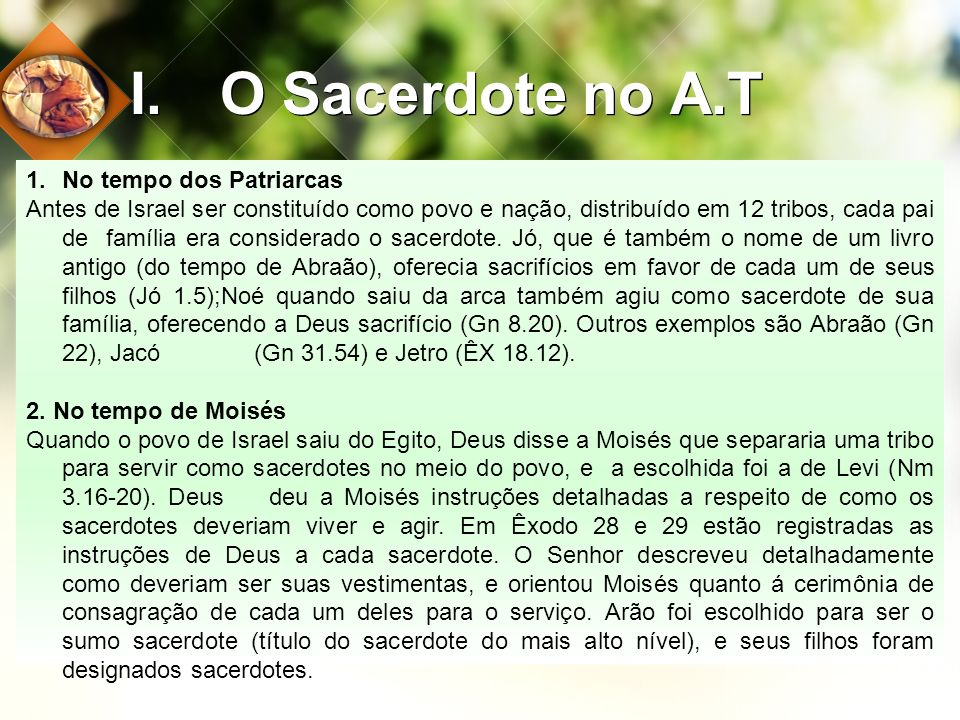 O Sacerdote no A.T No tempo dos Patriarcas