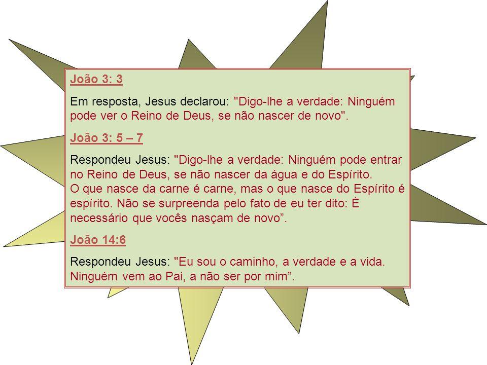 João 3: 3 Em resposta, Jesus declarou: Digo-lhe a verdade: Ninguém pode ver o Reino de Deus, se não nascer de novo .