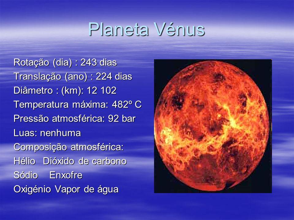 Planeta Vénus Rotação (dia) : 243 dias Translação (ano) : 224 dias