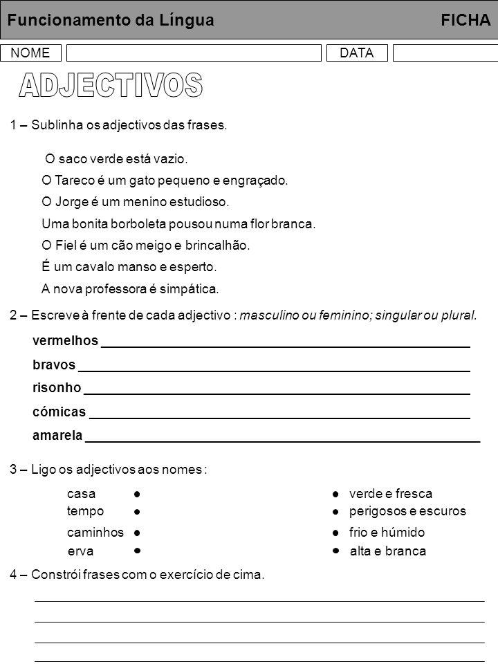ADJECTIVOS Funcionamento da Língua FICHA NOME DATA