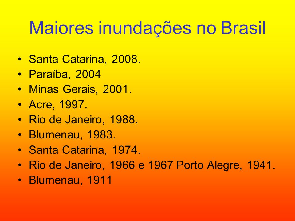 Maiores inundações no Brasil