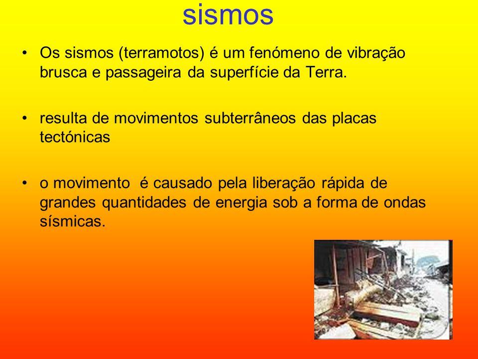 sismos Os sismos (terramotos) é um fenómeno de vibração brusca e passageira da superfície da Terra.