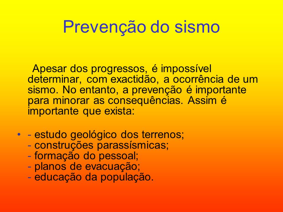 Prevenção do sismo