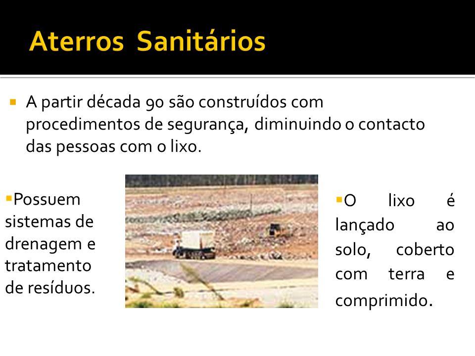 Aterros Sanitários A partir década 90 são construídos com procedimentos de segurança, diminuindo o contacto das pessoas com o lixo.