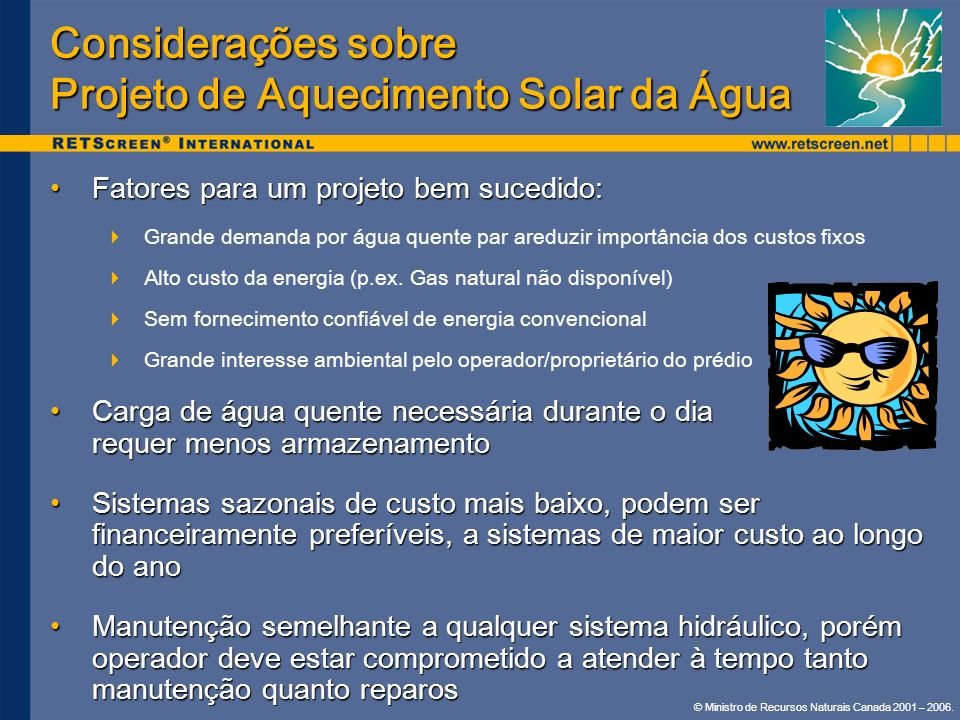 Considerações sobre Projeto de Aquecimento Solar da Água