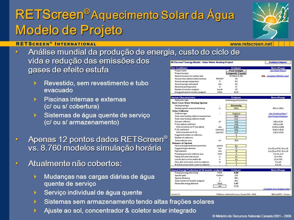 RETScreen® Aquecimento Solar da Água Modelo de Projeto