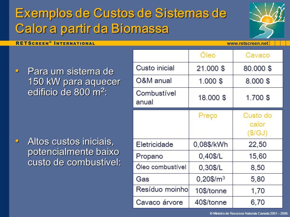 Exemplos de Custos de Sistemas de Calor a partir da Biomassa