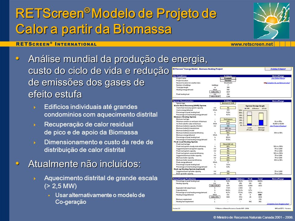 RETScreen® Modelo de Projeto de Calor a partir da Biomassa