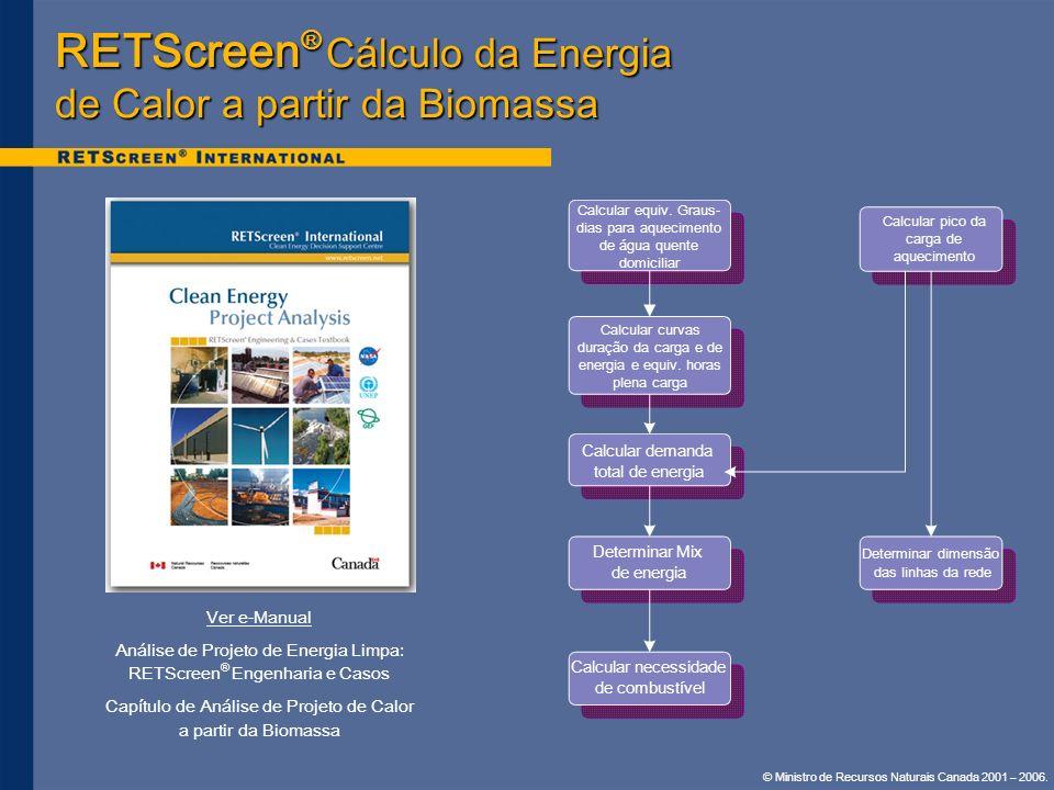 RETScreen® Cálculo da Energia de Calor a partir da Biomassa