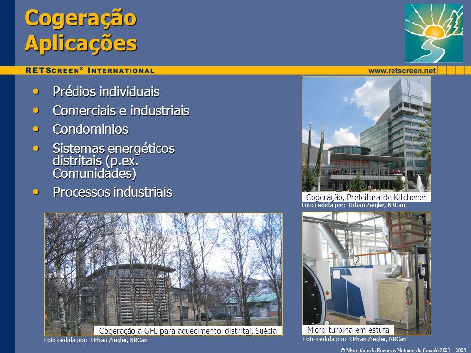Cogeração Aplicações Prédios individuais Comerciais e industriais