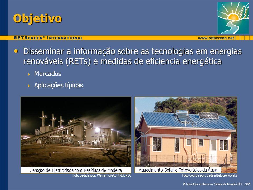 Objetivo Disseminar a informação sobre as tecnologias em energias renováveis (RETs) e medidas de eficiencia energética.