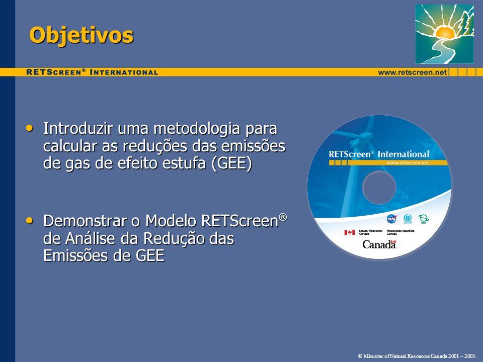 Objetivos Introduzir uma metodologia para calcular as reduções das emissões de gas de efeito estufa (GEE)