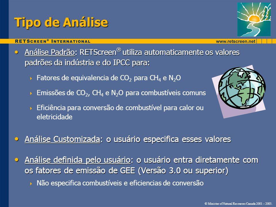 Tipo de Análise Análise Padrão: RETScreen® utiliza automaticamente os valores padrões da indústria e do IPCC para: