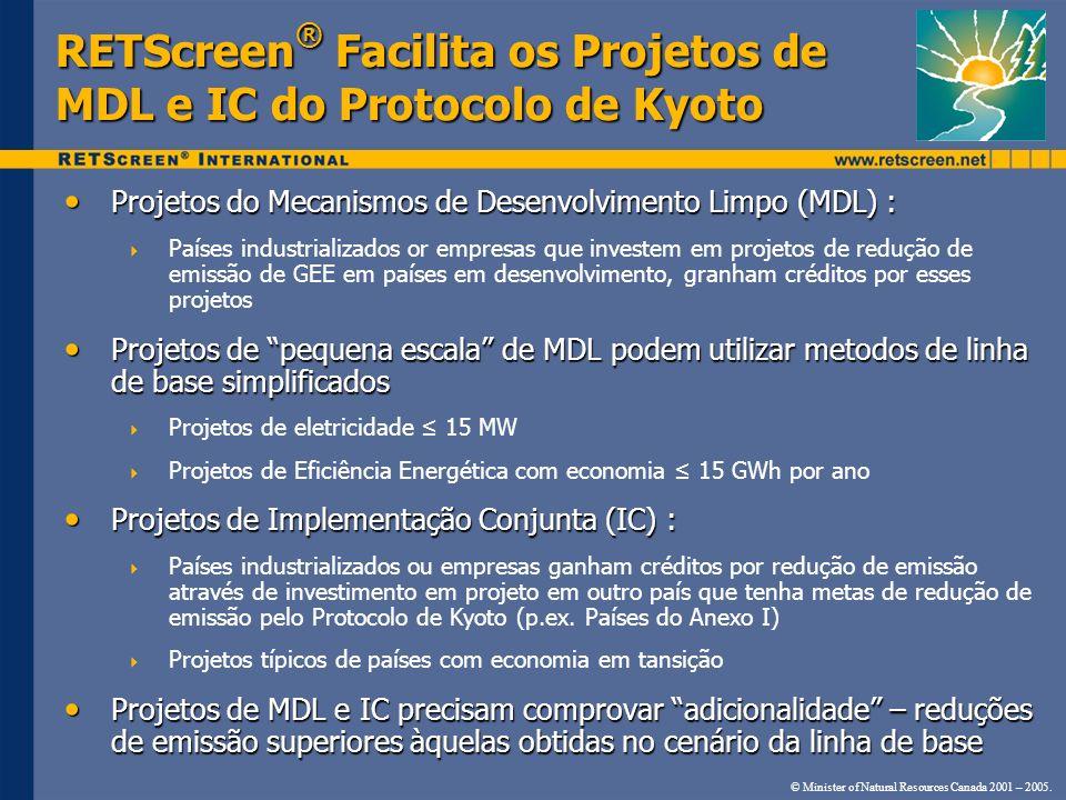 RETScreen® Facilita os Projetos de MDL e IC do Protocolo de Kyoto