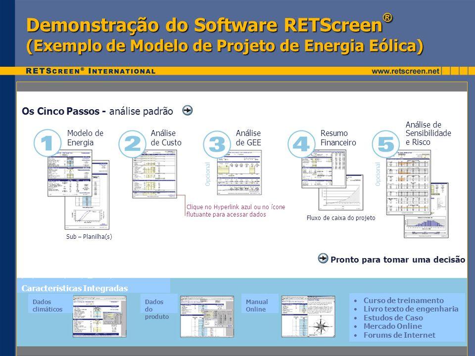 Demonstração do Software RETScreen® (Exemplo de Modelo de Projeto de Energia Eólica)