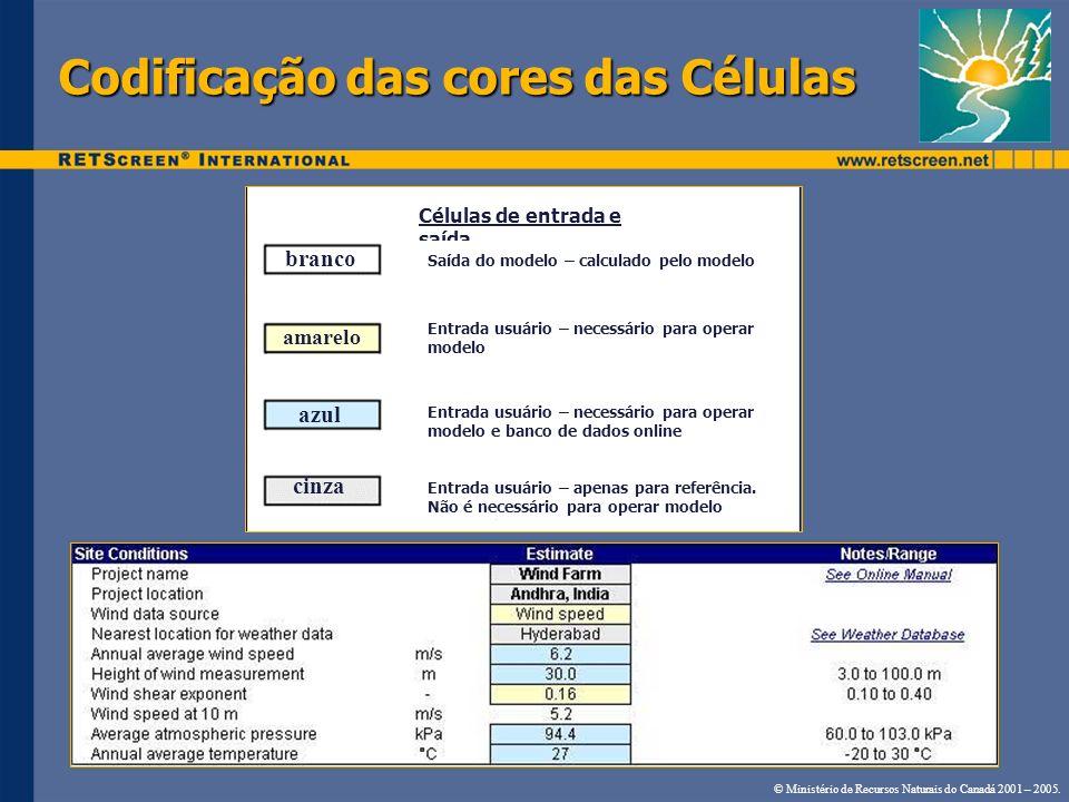 Codificação das cores das Células