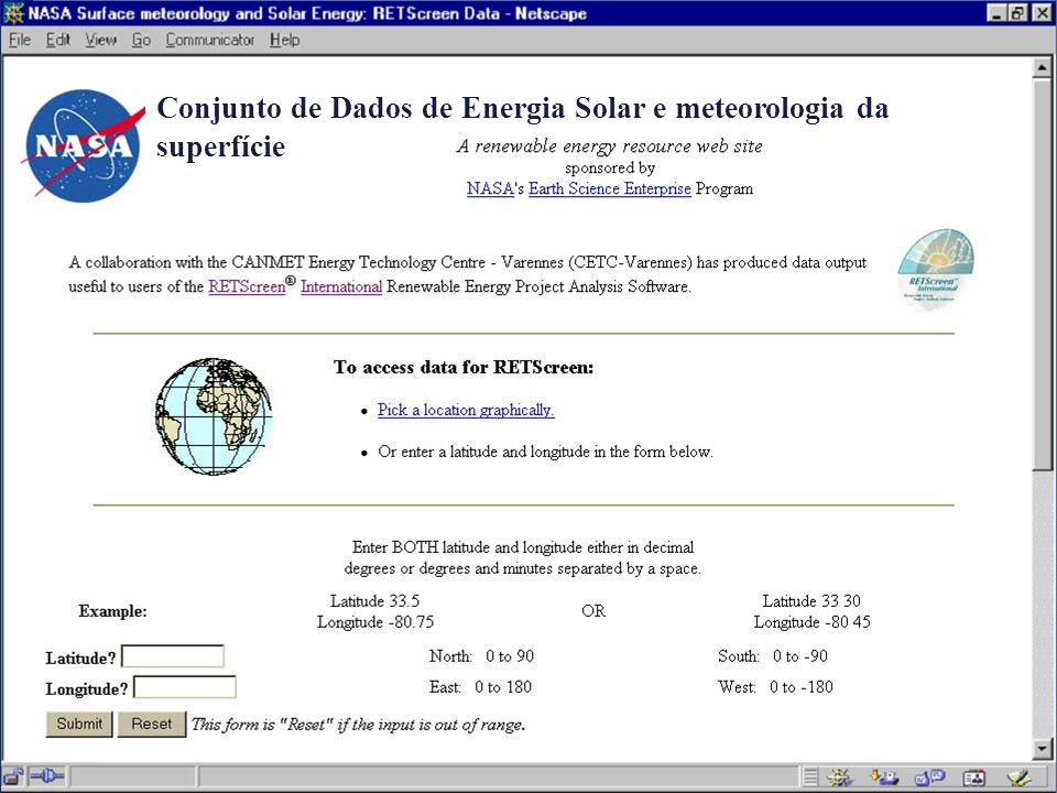 Conjunto de Dados de Energia Solar e meteorologia da superfície