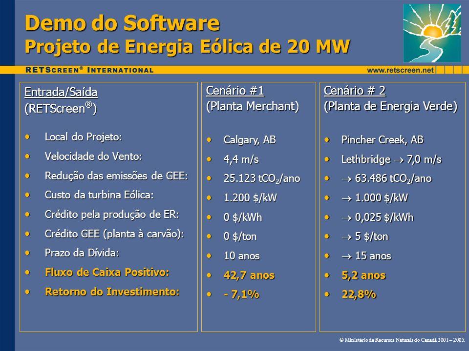 Demo do Software Projeto de Energia Eólica de 20 MW