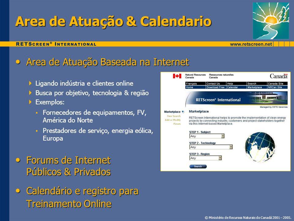 Area de Atuação & Calendario